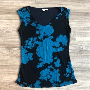 Halogen black and blue sleeveless blouse